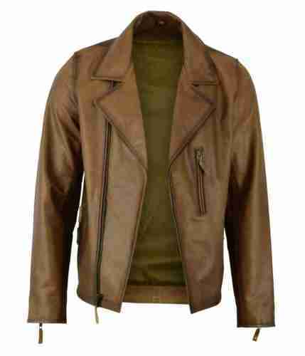 Men's classic vintage style biker leather jacket in brown - front