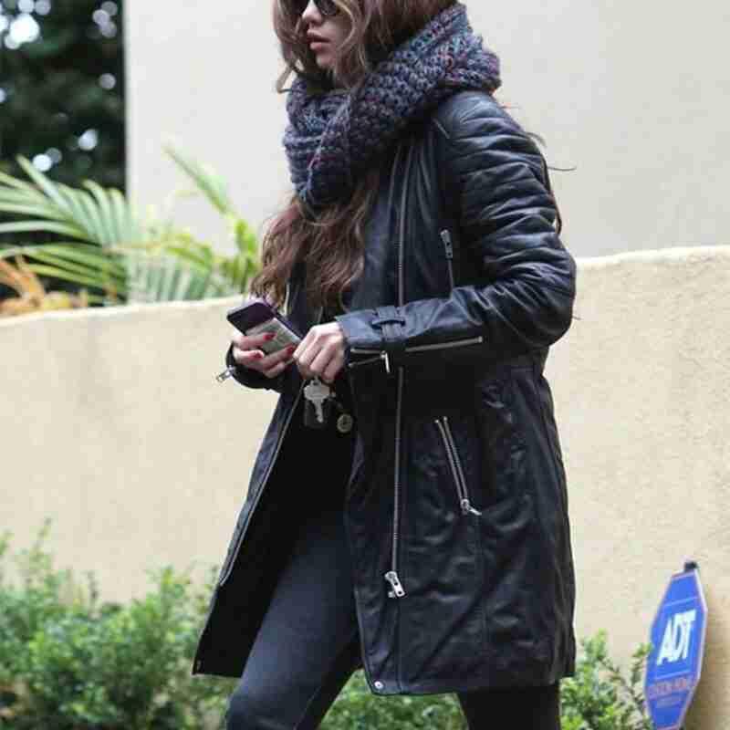 Selena Gomez Black Leather Trench Coat