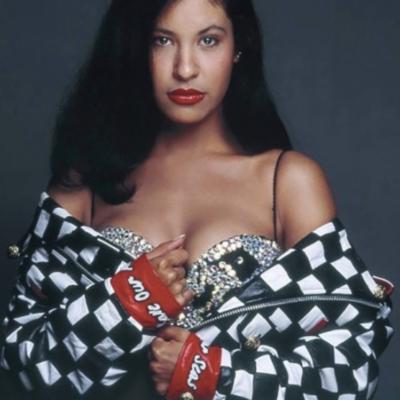 Selena Quintanilla Check Print Leather Jacket