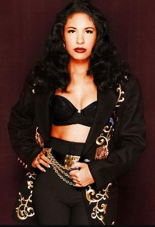 Selena Quintanilla black coat