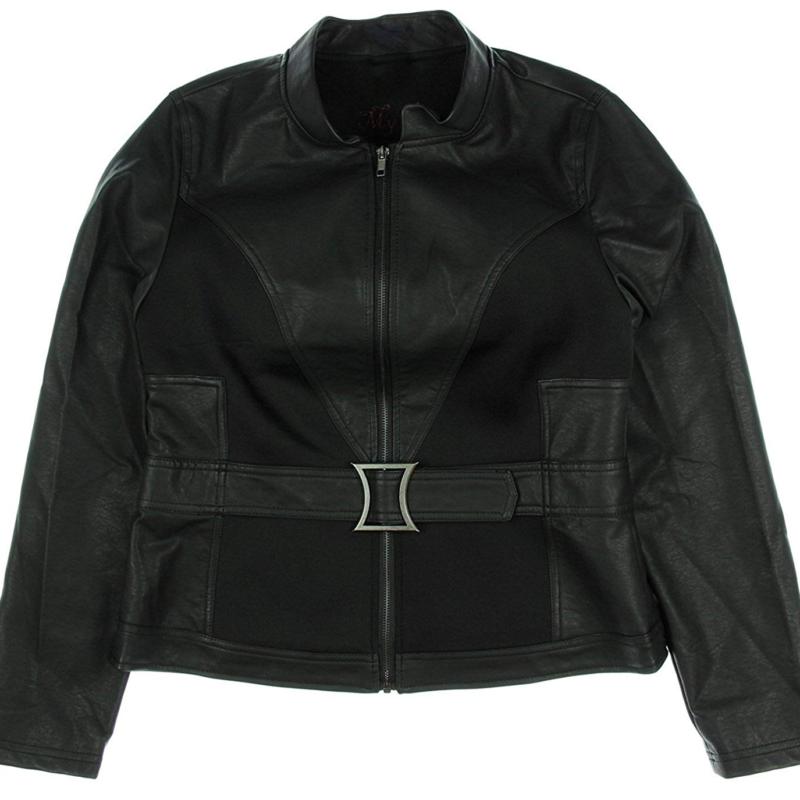 Natasha Romanoff aka Black Widow's black leather jacket - front