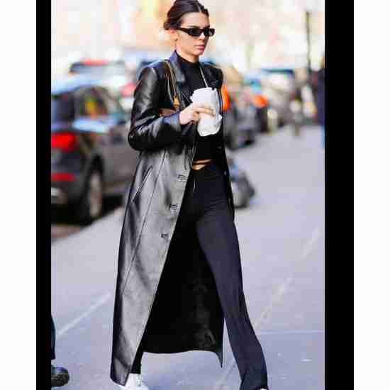Inspired by: the model Kendall Jenner Material: genuine leather Color: black Collar: lapel style collar Cuffs: open hem cuffs Sleeves: long and fitting Inner: soft viscose lining Front: buttoned closure Pockets: two side waist pockets and one chest pocket Fine quality stitching Length: long