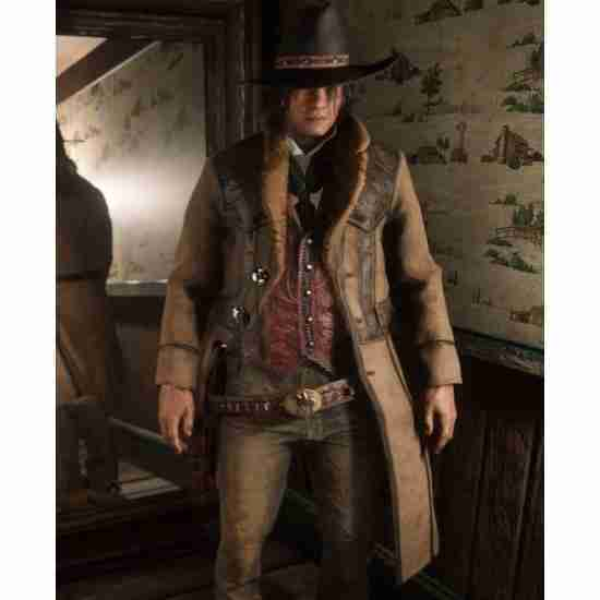 Red Dead Redemption 2 Video Game Montana Brown Shearling Coat