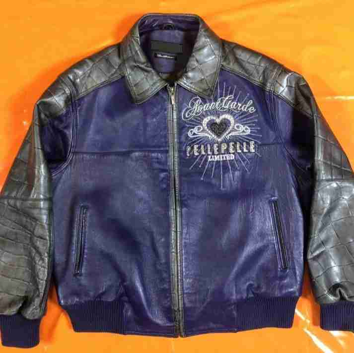 Men's Pelle Pelle purple and grey bomber leather jacket - front