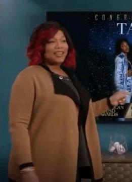 Queen Latifah wearing a beige cardigan as Carlotta Brown in Star 2016 TV Show