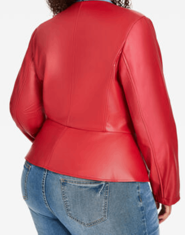 Back side of red ruffle faux leather jacket of Queen Latifah (Carlotta Brown) from Star Season 02