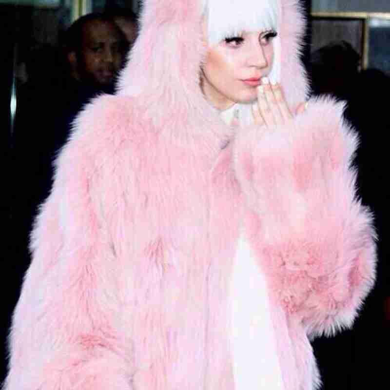 American Singer Lady Gaga Gorgeous Lady Pink Faux Fur Long Coat