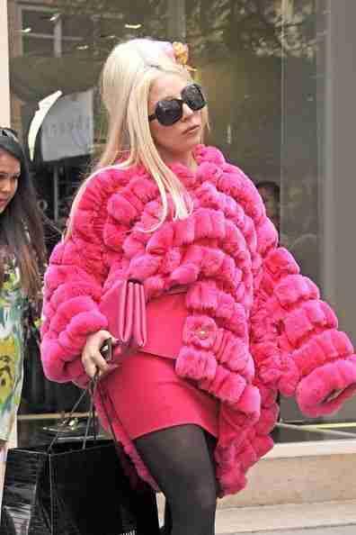 American Singer Lady Gaga Hot Pink Fur Jacket Style Coat