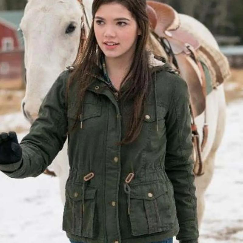 Georgie TV Series Heartland Alisha Newton Green Hooded Jacket