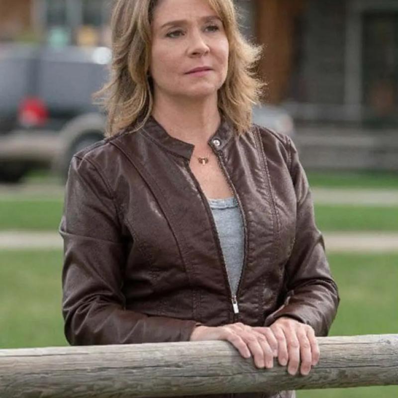 Megan Follows TV Series Heartland Lily Borden Brown Leather Jacket