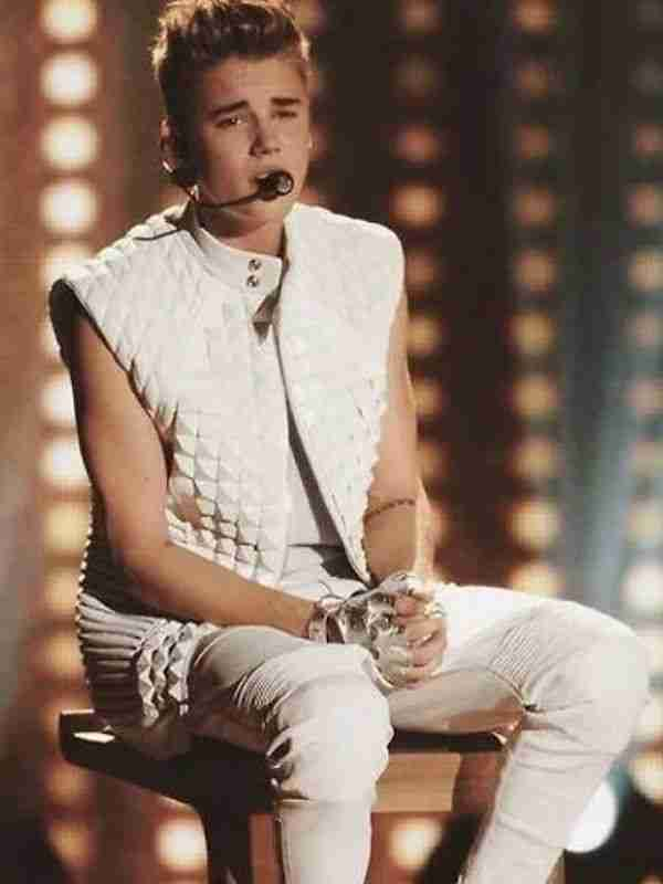 Justin Bieber White Leather Quilted Vest