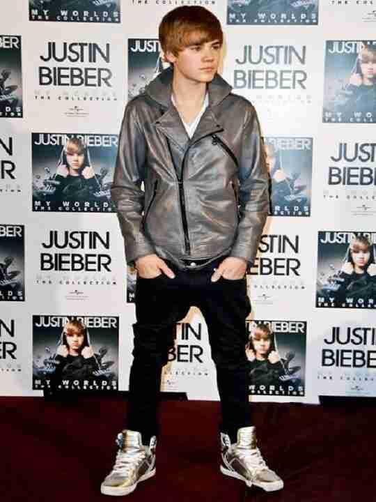 Justin Bieber Grey Leather Jacket