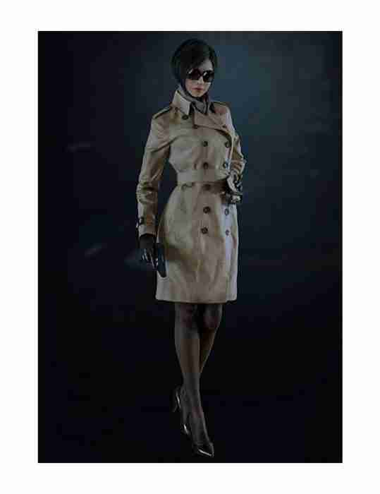 Resident 2 Video Game Ada Wong Double Breasted Trench Coat
