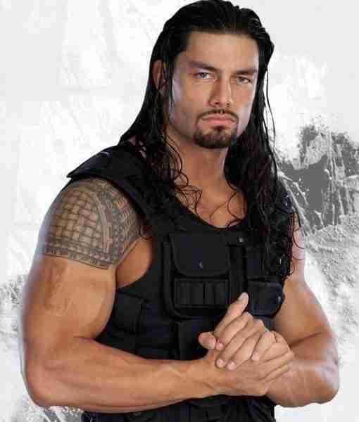 Roman Reigns WWE Black Leather Vest