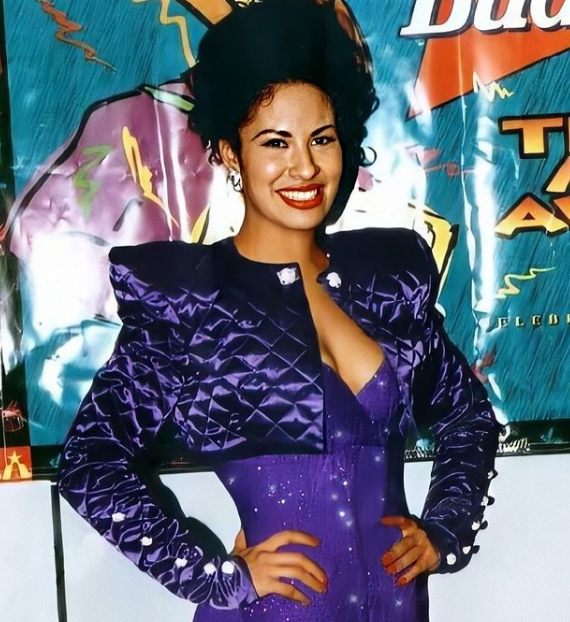 Selena Quintanilla purple quilted cropped jacket