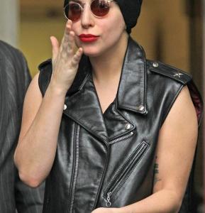 American Singer & Song Writer Lady Gaga Black Leather Vest