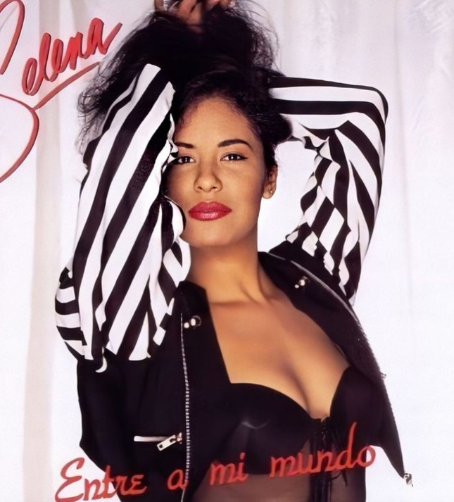 Song Writer Selena Quintanilla American Singer Black & White Cropped With Stripes Sleeves Jacket