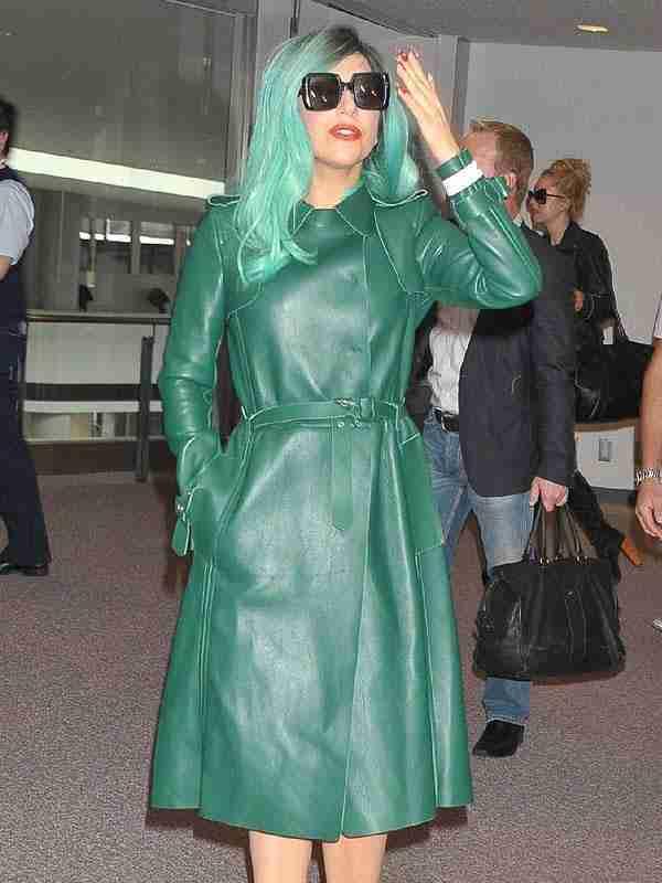 Lady Gaga Fashionable Green Leather Coat