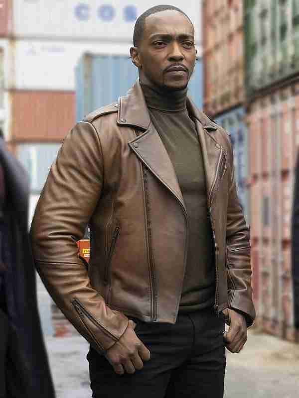 Sam Wilson The Falcon and the Winter Soldier Brown Leather Jacket