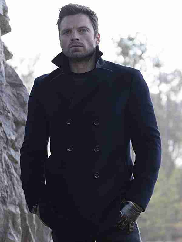 Sebastian Stan The Falcon and the Winter Soldier Bucky Barnes Black Wool Peacoat