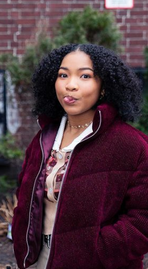 Delilah McCall Actress The Equalizer Laya DeLeon Hayes Maroon Jacket