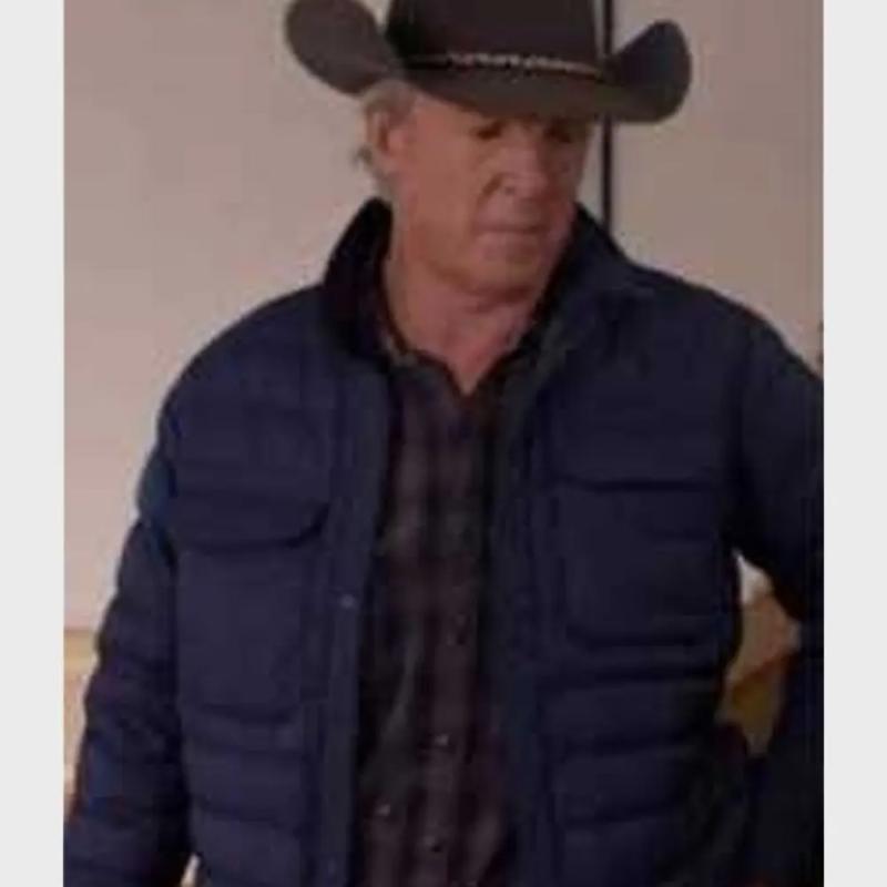 Chris Potter as Tim Fleming wearing a navy blue puffer jacket in Heartland