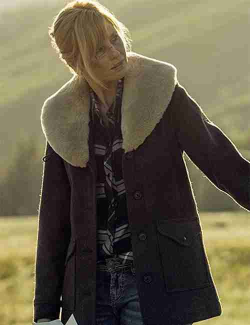Beth Dutton TV Series Yellowstone Kelly Reilly Brown Shearling Coat