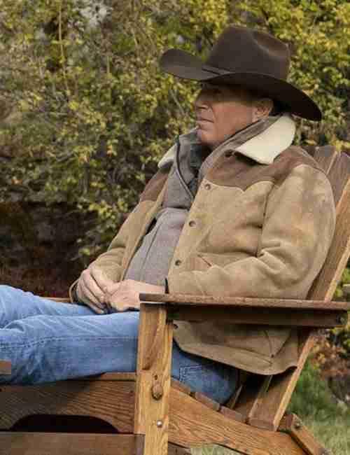 John Dutton TV Series Yellowstone S03 Kevin Costner Shearling Jacket