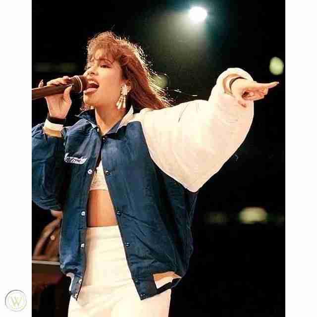 American Singer Selena Quintanilla 1994 Houston Astrodome Blue & White Bomber Jacket