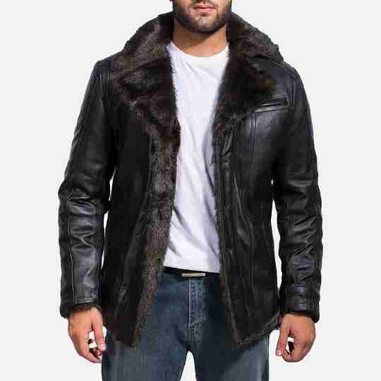 Fur Lined Leather Jacket With Fur Collar For Men
