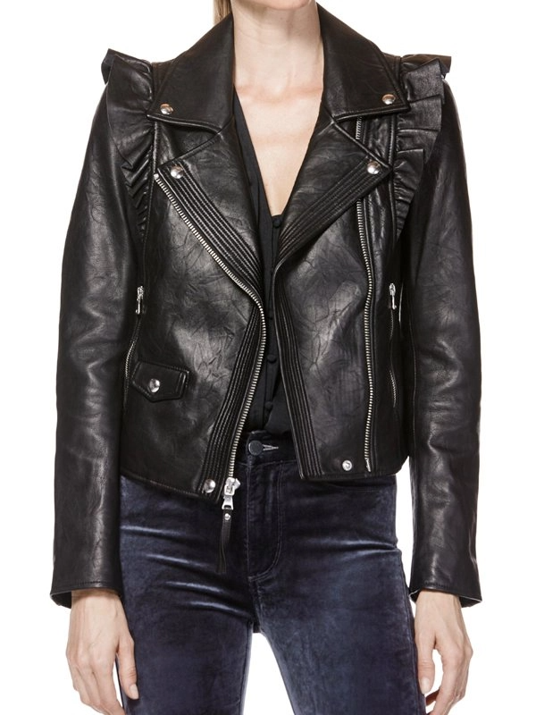 Jackie Goldschneider Black Leather Jacket