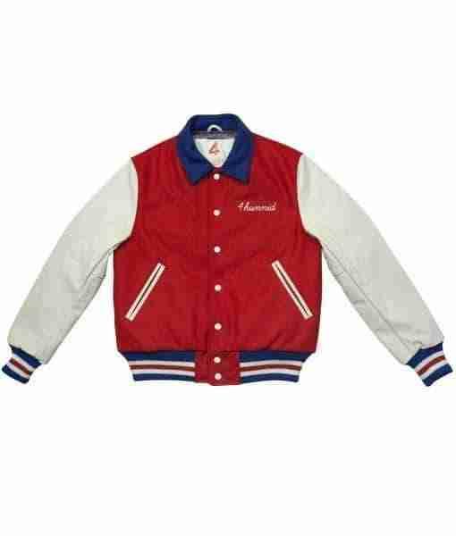 4Hunnid Kut Red and White Bomber Jacket