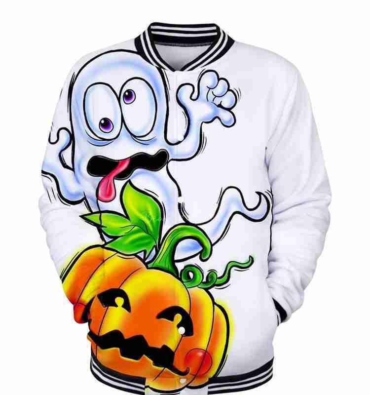 Men's Funny Halloween Pumpkin Print Bomber Jacket