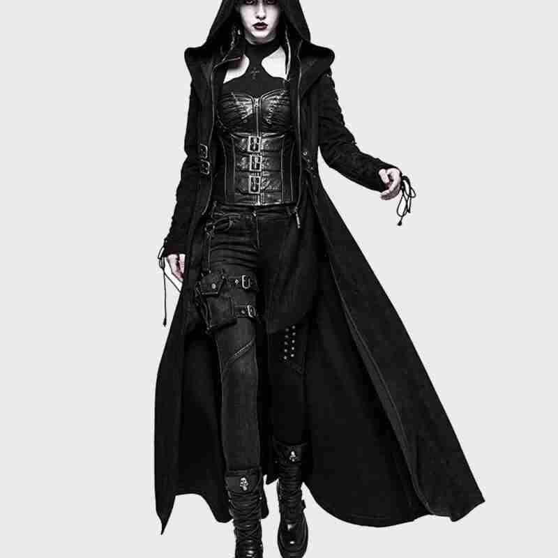 Gothic Dark Angel Black Trench Hooded Coat