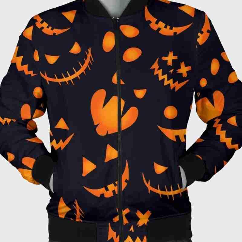 Halloween Pumpkins Pattern Black Cotton Bomber Jacket