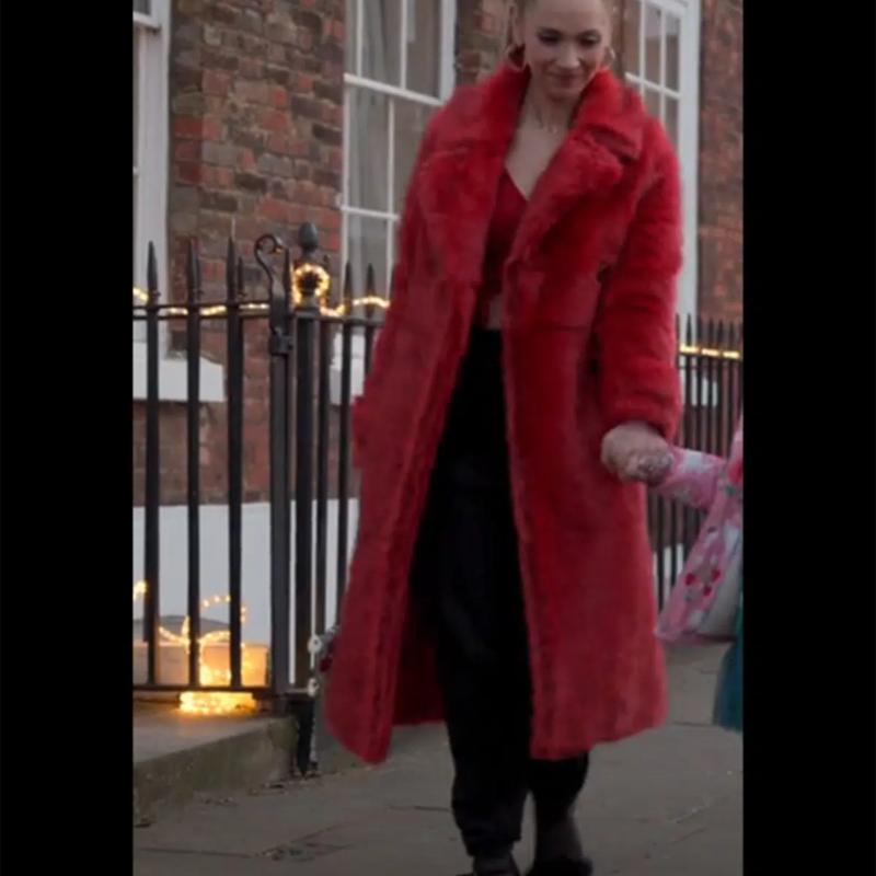 Juno Temple TV Series Ted Lasso Keeley Jones Red Fur Coat