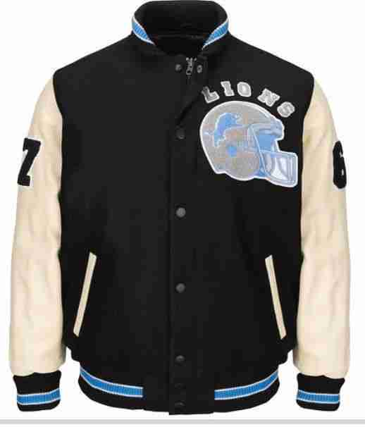 Authentic Detroit Lions Beverly Hills Axel Foley Wool & Leather Varsity Jacket.