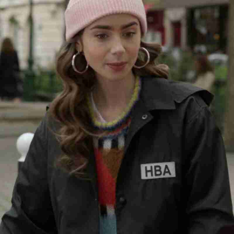Emily Cooper Black Cotton TV Series Emily In Paris Lily Collins HBA Logo Cropped Jacket