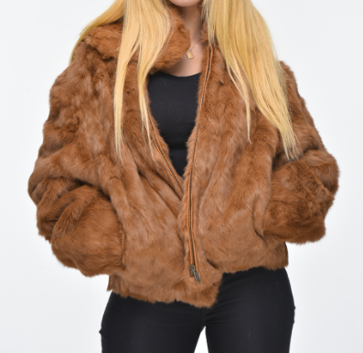 Brown Rabbit hooded bomber jacket for ladies