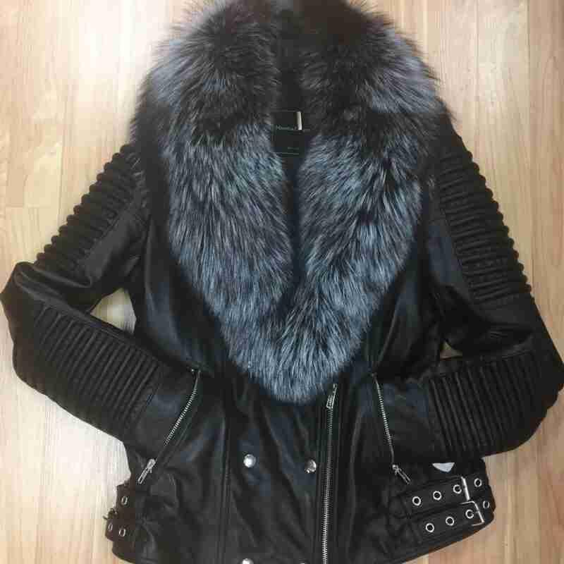 Mason and Cooper Ladies Asymmetrical Lambskin Biker Jacket with Silver Black Fox Fur