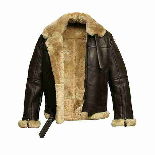 Mens FUR Aviator Flying Pilot Bomber Black and Brown Leather Jacket