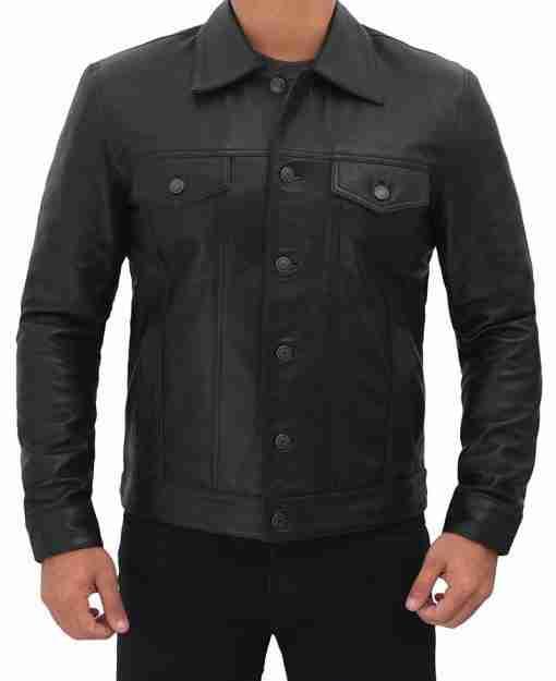Mens Black Leather Trucker Jacket