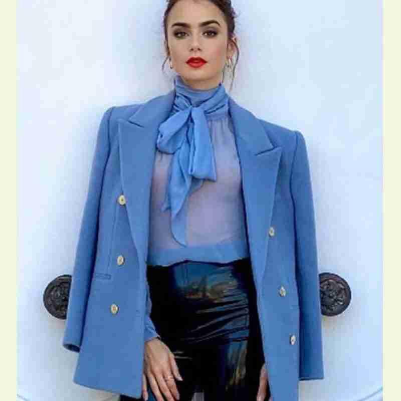 Emily in Paris Emily Cooper Blue Peacoat